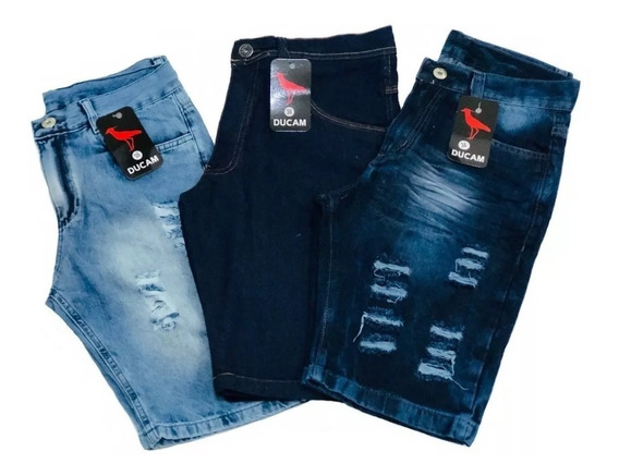 Kit 3 Bermudas Jeans Rasgada Desfiada Masculina Original