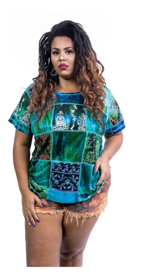 Camiseta Baby Look Plus Size Patchwork Tie Dye De Viscose