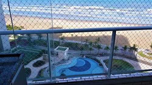 Imagem 1 de 14 de Lindo Apto -frente Mar -varanda Churrasqueira - Praia Grande