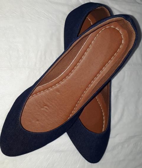 Sapatilha Azul Marinho Jeans Bico Fino