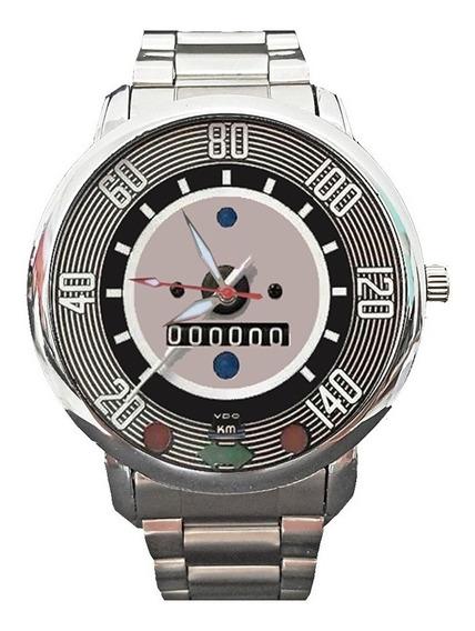 Relógio De Pulso Velocimetro Do Fusca Pulseira Aço Inox