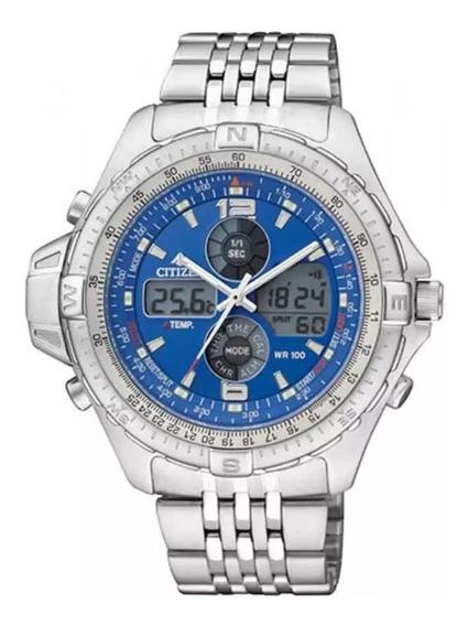 Relógio Citizen Js1046-55l Azul Wingman 100% Original Pequen