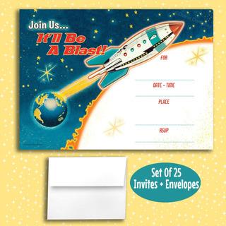 Retro Rocket Complete Invitaciones, 25 Invitaciones Con...