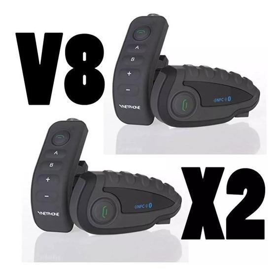 Par X 2 Intercomunicadores Moto Bluetooth Ejeas V8 Control