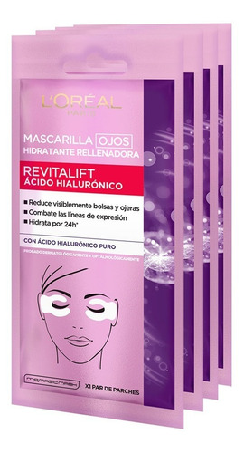 Pack 3 Eye Tissue Acido Hialuronico L'oreal Paris