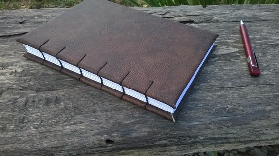 Caderno Sketchbook Marrom 208 Pág Agenda A5 Couro Agenda
