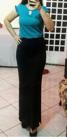 Conjunto Saia Longa Fenda Lateral Blusa Crepe Black Friday