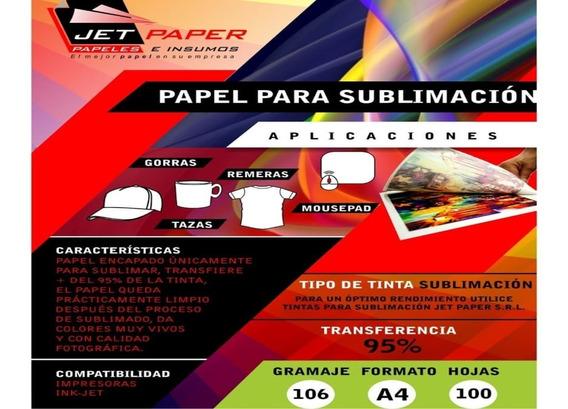 Papel Sublimacion A4 95% Transferencia 100hs