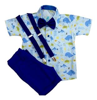 Roupa Festa Infantil Menino Camisa Social Manga Curta Fundo Do Mar Com Bermuda Suspensório E Gravata Borboleta