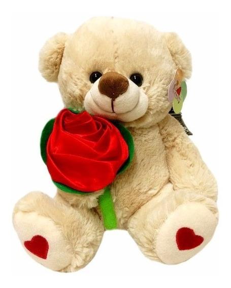 Urso De Pelúcia Com Rosa Vermelha - 22cm De Altura - Zimex