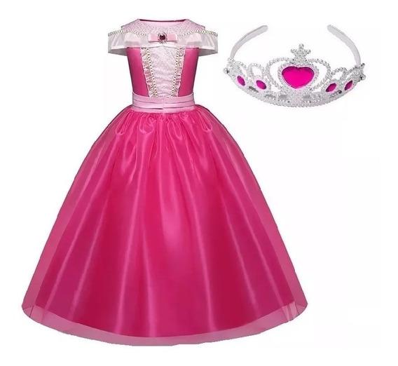 Vestido Fantasia Princesa Aurora Bela Adormecida + Coroa