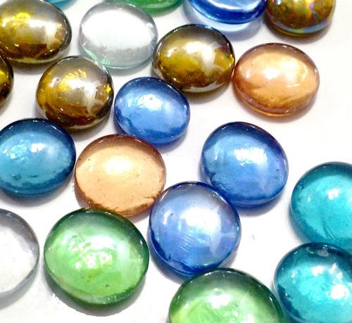 Gemas De Vidrio Bolsa  De 50 Unid Aprox Colores Variados