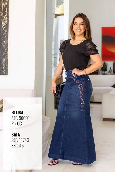 Saia Longa Jeans Joyaly Com Detalhes Nas Laterais