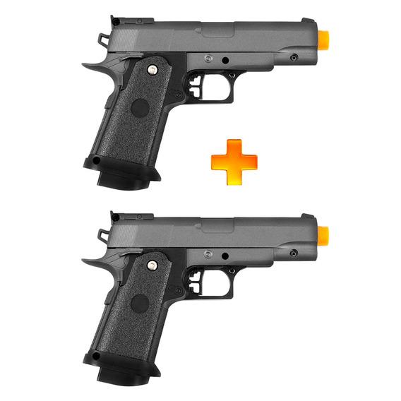 2 Pistolas De Airsoft Spring G10 Modelo 1911 Baby Full Metal 6mm - Galaxy U Unica Unica
