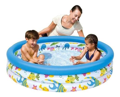 Pileta Inflable Bebes Niños 3 Anillos - Fondo Del Mar 122 Cm