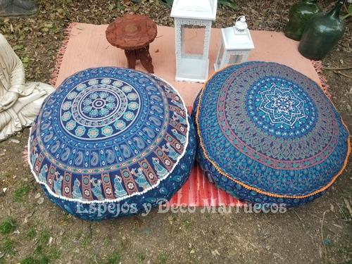 Puff Almohadon Zafu Hindú Grande  83 X 25 Cm Con Pompones