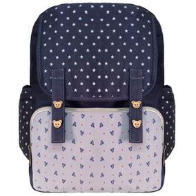 Bolsa Mochila Ursinho Estrela Azul Com Ziper Notebook 15 Pol