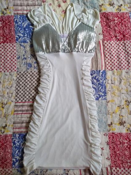 Vestido Branco Com Paetê Tamanho M Em Lycra