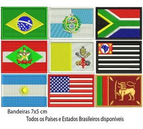 Patch Bordado Kit C/ 5 Bandeira Brasil ,uf, País