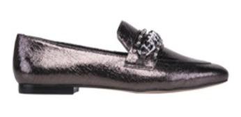 Sapato Loafer Feminino Bico Fino Metálico Craquelê Com Corre