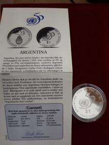 Moneda Plata Argentina Aniversario O.n.u