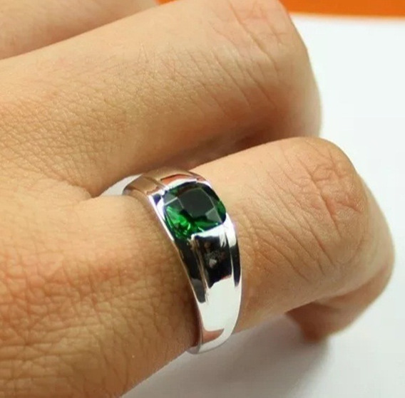 Anel Masculino Pedra Verde Elegante Banhado A Prata Pedra Esmeralda Natural