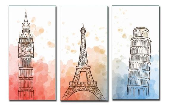Cuadro Triptico Paris Londres Torre De Pizza Xl 60x90