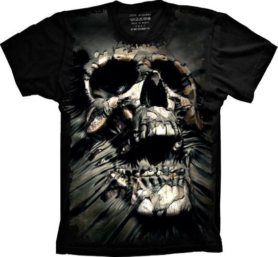 Camiseta T-shirt Full Print Caveira 3d Estilo The Mountain