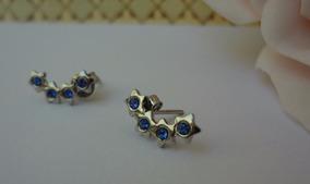 Brinco Feminino De Aço Inóx 4 Estrelas C Cristal Azul 55