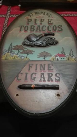 Antiguo Cartel De Madera R J Morans Pipe Tobaccos