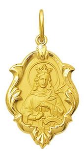 Leão Jóias Medalha Nossa Santa Catarina Ouro 18k 2,5 Cm