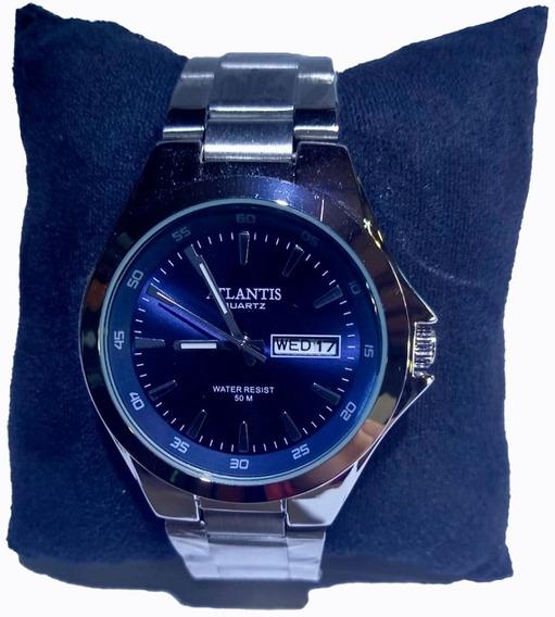 Relógio Atlantis Prata Fundo Azul Com Calendário - G3214