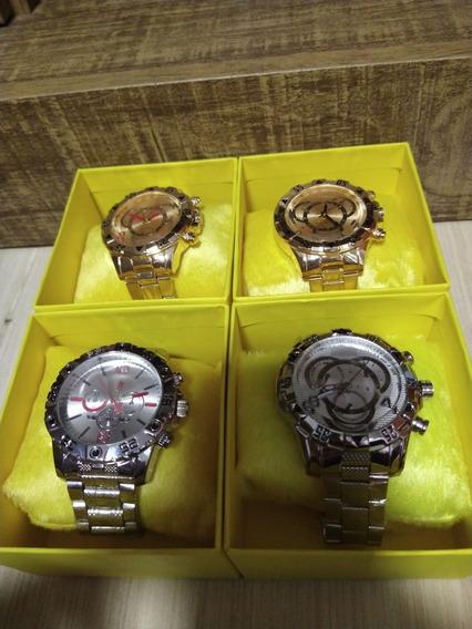 Kit C/4 Relógios De Aço +4caixas