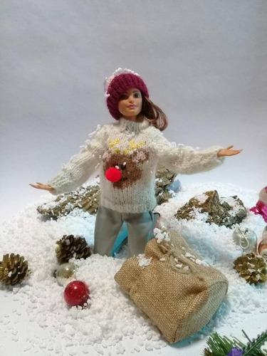 Imagen 1 de 4 de Ropa Para Barbie,gorro Y Suéter Navideño Tejido Enlana,nuevo