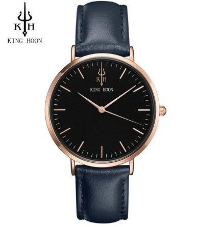 Relógio Masculino King Hoon Elegante Simples Couro Kh Azul