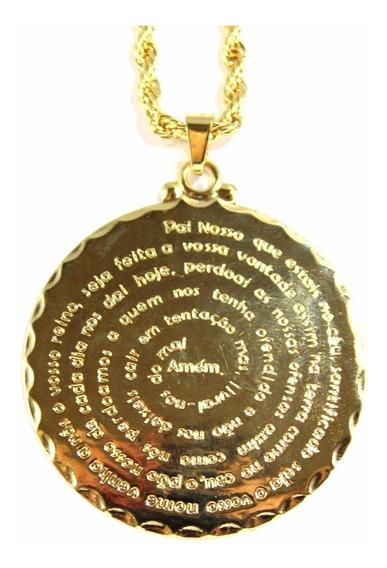 Colar Cordão Baiano Medalha Pai Nosso Banhado A Ouro 18k