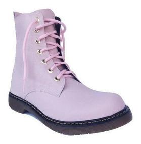 Botas Rosas Con Agujetas Y Suela Gruesa Zapatos Dama