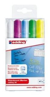 Marcador Borrable Para Vidrio Edding 90 Set 5 Colores