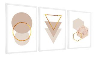 Quadro Decorativo Triângulo Círculos Bege Tons Neutros Br