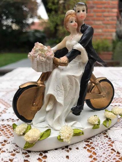 Adorno Torta Casamiento Pareja En Moto