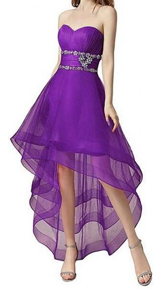 Vestido De Fiesta De Mujer De Tul Alta Baja Con Abalorios