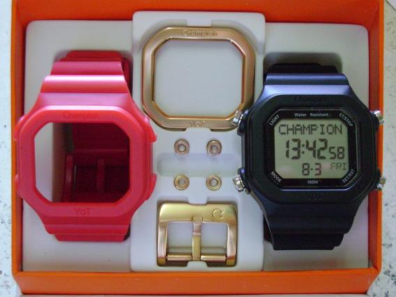 Relógio Champion Yot Original Cp40180x Nf Preto Vermelho