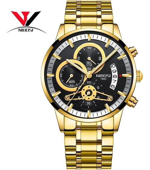 Relógio Masculino Nibosi 2309 Blindado Anti-risco Cronógrafo