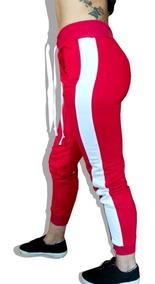 Calça Feminina Jogger Moletom Vermelho Peluciado Com Listra