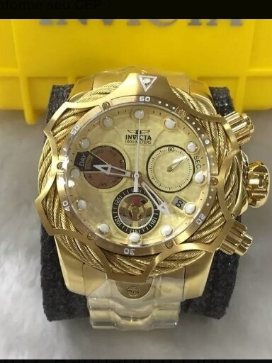 Relógio Invicta Venom 27702, Banhado A Ouro, 100mts