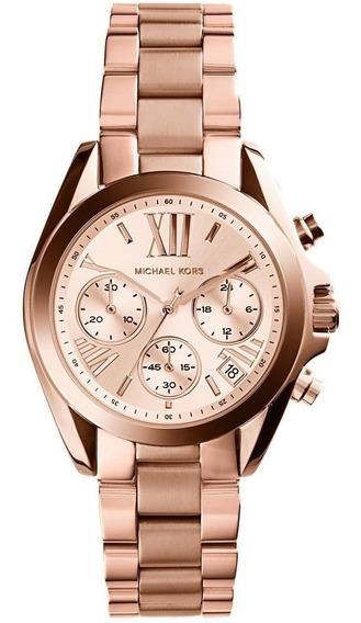 Reloj Michael Kors Mk5799 Bradshaw 36mm Cronógrafo Oro Rosa