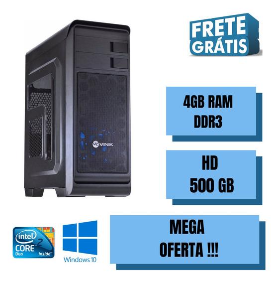 Pc Desktop Core 2 Duo 500gb 4gb Ram Win 10 Com Programas !!!
