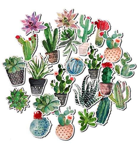 Acuarela Cactus Y Suculentas Pegatinas 28pcs