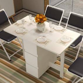 Mesa Dobrável Artesanal Para Sala De Jantar Com 3 Gavetas