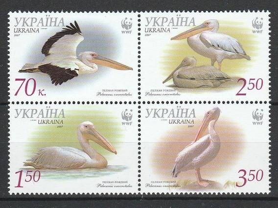 2007 Wwf Fauna - Aves- Pelícanos - Ucrania Mnh